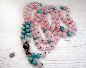 Rose Quartz Mala, Amonzonite mala,  Mala 108, Meditation Mala, Buddhist Jewelry, Buddhist Prayer beads, Boho Gemstone Necklace, Cornwall UK