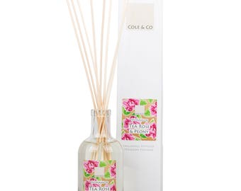 Welsh, Beautiful and Feminine Tea Rose & Peony Diffuser - Home Fragrance - Made in Wales - A Gift for You and Your Home - For Christmas