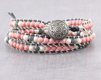 Pink Boho Wrap Bracelet Skinny Wrap Bracelet Gray Leather Bohemian Bracelet Boho Jewelry Gray White 3x Wrap Leather Jewelry Leather Bracelet