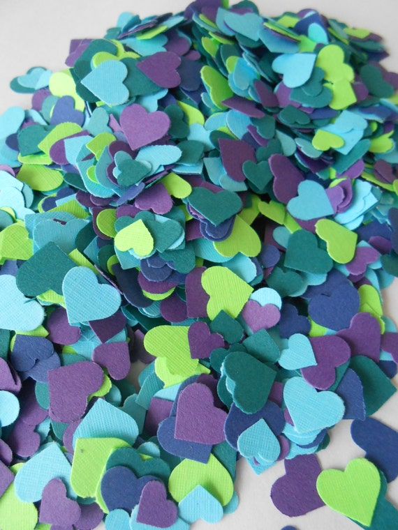 Over 2000 Mini Confetti Hearts. PEACOCK MIX. Weddings, Showers, Decorations. Or Choose Your Colors.