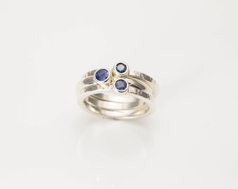 Hand Made Silver Stack Rings Set with Sapphires