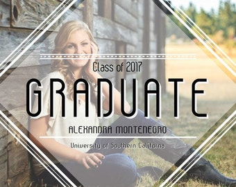Graduation Announcement, Graduation Invitation, College Graduation, High School Graduation, Printable