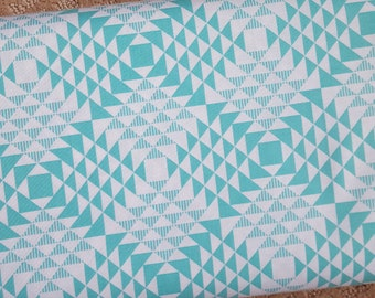 Sale!! Pyramids Mint Triangle Blue Fabric by Joel Dewberry Atrium Collection Aqua Fabric by the Yard
