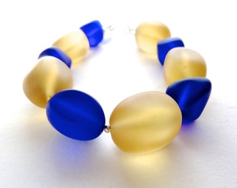 Eco fashion recycled glass bracelet, yellow, blue royale, sterling silver