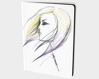 Windswept - Hand-bound All-over printed Notebooks - Sketchbook, Art Journal, Fashion Illustration