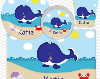 Whale Blue Plate, Bowl, Cup, Placemat - Personalized Whale Dinnerware for Kids - Custom Tableware