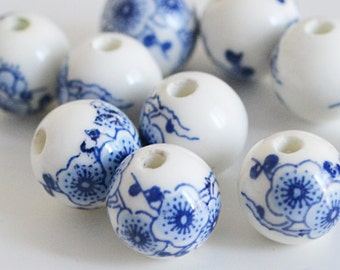 Chinese Porcelain Beads, Round Shape, Blue and White, 12mm, 10 pcs, Flower pattern