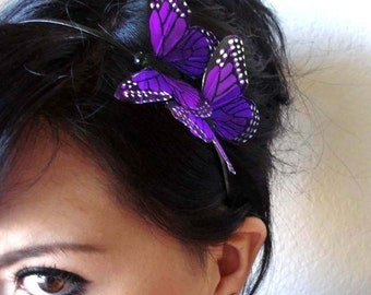 purple butterfly headband - bohemian hair accessory - whimsical hair piece - hair accessories for women - bridal hair accessory - HERMIONE