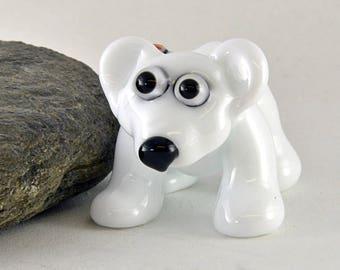 POLAR Bear, White Bear, Paw Print Murrini sculpture focal glass lampwork bead, Izzybeads SRA
