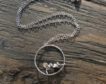 Silver hummingbird necklace, hummingbird jewelry