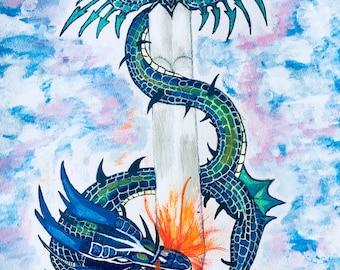 Dragon coiled around valarian sword