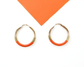 Gold Plated hoops Earrings Summer Kiss, Golden and orange vinyl thread, Hight Quality champagne gold plated