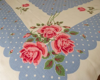 Vintage Tablecloth, Polka Dots & Red Roses, Blue Border, 1960's Home Decor, Mid Century Table Linens