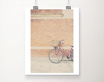 red bicycle photograph Cambridge photograph travel photography wanderlust art red bicycle print brick wall photograph