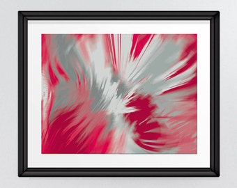 Abstract Brush Strokes in Lipstick Reds & Greys, Expressionistic Flower Striking Wall Art, Digital Print, INSTANT DOWNLOAD