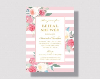 BRIDAL SHOWER INVITATION Blush Pink and Gold  Watercolor Pink Floral Stripe and Gold Floral   Shabby Chic Bridal Shower Invitation