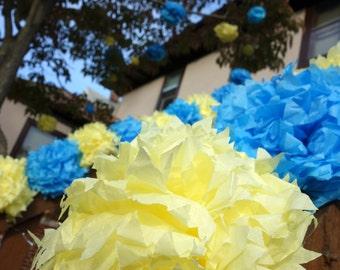 16 Medium PuffScape CONNECTING DIY Tissue Paper Flower Pom Pom Puffs for Banister Blue & Lemon Yellow Baby Shower Birthday Wedding
