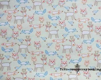 "Coupon fat quarter 45 x 53 cm (18 ""x 21"") cute Kawaii Cute boy forest animals theme"