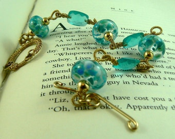 Blue Lampwork/Swiss Blue Quartz Gold Filled Bracelet