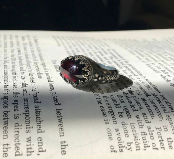 Renaissance sterling and garnet ring