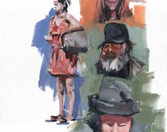 Original 16x20 People on the Street Figure Painting OOAK