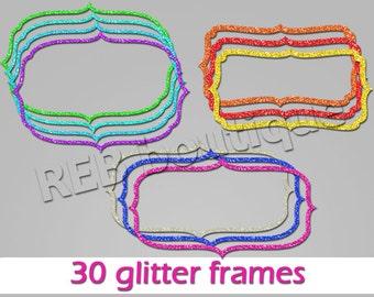 Clipart Glitter Frames, Clip Art Glitter Frames - Digital glitter frames, gold, silver, red, green, blue, purple, pink, orange, teal