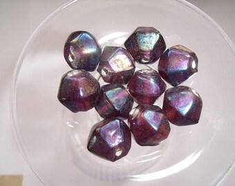 5 glass top 14mm iridescent purple bicone bead