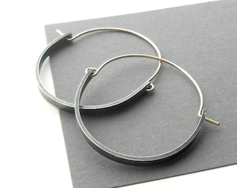 Oxidized Sterling Silver and Gold Filled Modern Hoop Earrings