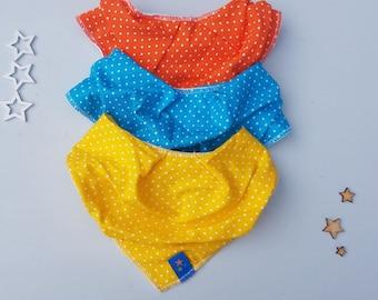 Polka dot print Dribble bib. PACK OF 3. Soft Jersey bib. Bandana Bib. Cute dotty print.