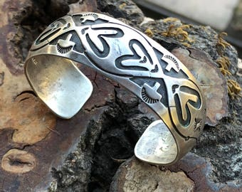 Vintage Native American Navajo Etched Sterling Silver Cuff Signed