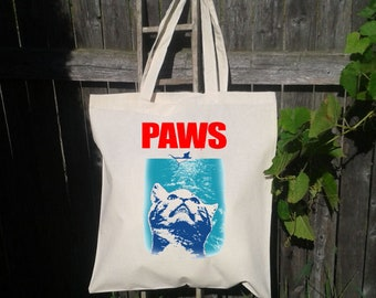 Funny Cat Tote Bag,  Reusable Tote Bag, Grocery Bag, Animal lover gift, Gift for her, Grocery Bag, Jaws Tote Bag