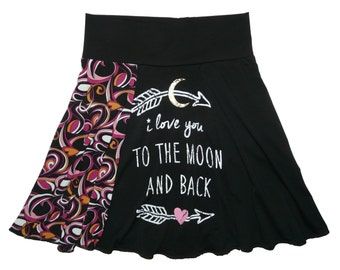 Yoga Skirt Women XS Small Size 0 2 4 Upcycled Skirt recycled t-shirt clothing hippie skirt Twinkle Skirts from Twinklewear