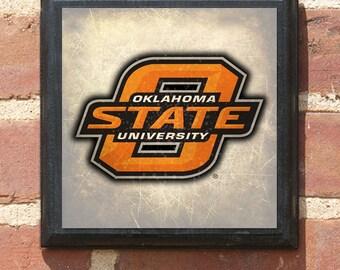 Oklahoma State Cowboys University Logo - OSU Wall Art Sign Plaque Gift Present Home Decor Vintage Style Pistol Pete Stillwater OK Classic
