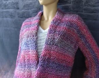 Chunky Cardigan, Crochet Cardigan, Cardigan Women, Purple Cardigan, Crochet Jacket, Mixed Berries, Available in S/M, L/XL and 1X/2X
