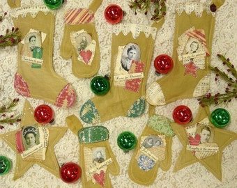 primitive Christmas Stocking Mitten PDF Pattern - ornie ornament star old photo scrapbooking collage art papers heart muslin