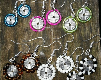 Mix bead colour, earrings handmde, round,handicraft, wrapped wire, oval shape