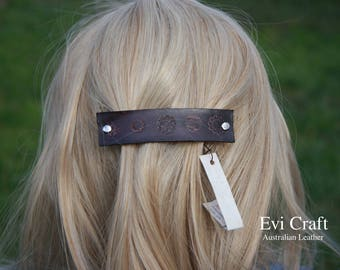 Large black colour Leather french hair barrette, clip, fashion, hand tooled accessory, flowers, Ponytail Holder