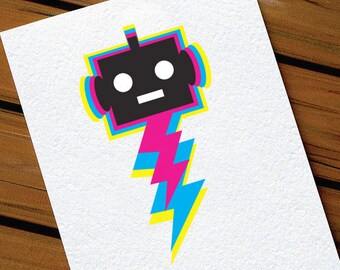 Kids Birthday Card Robot Lightening Bolt