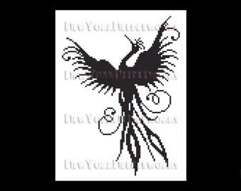 Phoenix Cross Stitch, Bird Cross Stitch, Cross Stitch Bird Silhouette, Silhouettes, Cross Stitch Silhouette from NewYorkNeedleworks on Etsy