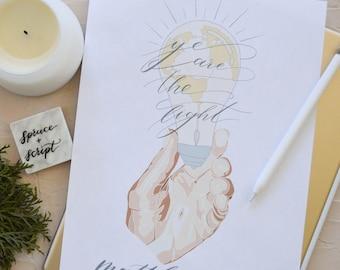 Ye Are The Light, Scripture Quote—Matthew 5:14, Digital Download, Bible Verse, Graphic Design Print