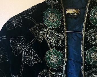 Vtg Beaded Silk Bolero Jacket Ivy and Green Roses