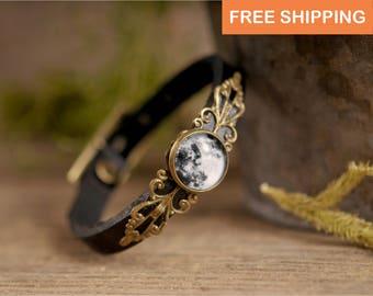 Full moon bracelet, moon jewelry, black leather bracelet, adjustable bracelet, full moon jewelry, gift for her, moon bracelet, full moon