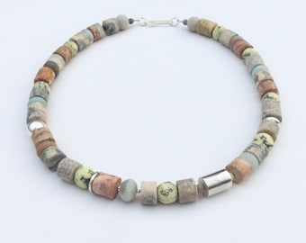 Sky Eye Jasper Necklace, with Yellow Turquoise, Black Amazonite, Picasso Jasper and sterling silver.