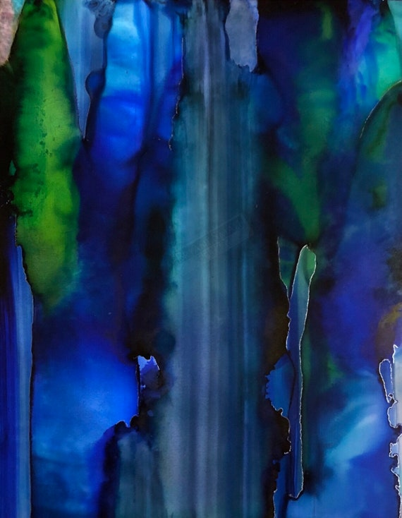 """Original Alcohol Ink Abstract Painting: """"What Yellow Brick Road?"""""""