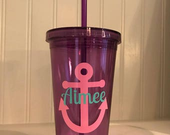 personalized cup tumbler with anchor all colors!