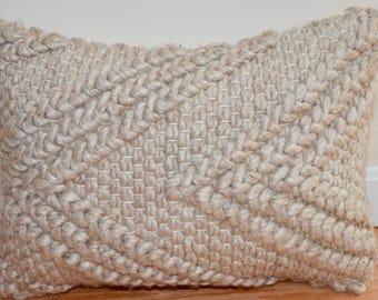 "Textured Wool Knit ""V"" Pattern Lumbar Pillow in Oatmeal"