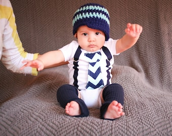 GET THE SET - Baby Boy Tie Bodysuit or Shirt with Suspenders and matching hat  - Aqua and Navy Blue