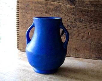 Vintage Blue Art Pottery Vase with Matte Glaze, Burley Winter Style, Arts and Crafts Era Pottery, Bungalow Decor