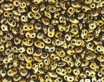 FULL AMBER: SuperDuo Two-Hole Czech Glass Seed Beads, 2.5x5mm (10 grams)