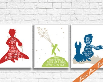 The Little Prince - Imagination Quotes - Set of 3 Art Prints (Unframed) (Featured in Pepper, Bamboo, Deep Sea and Almond) Kids / Nursery Art